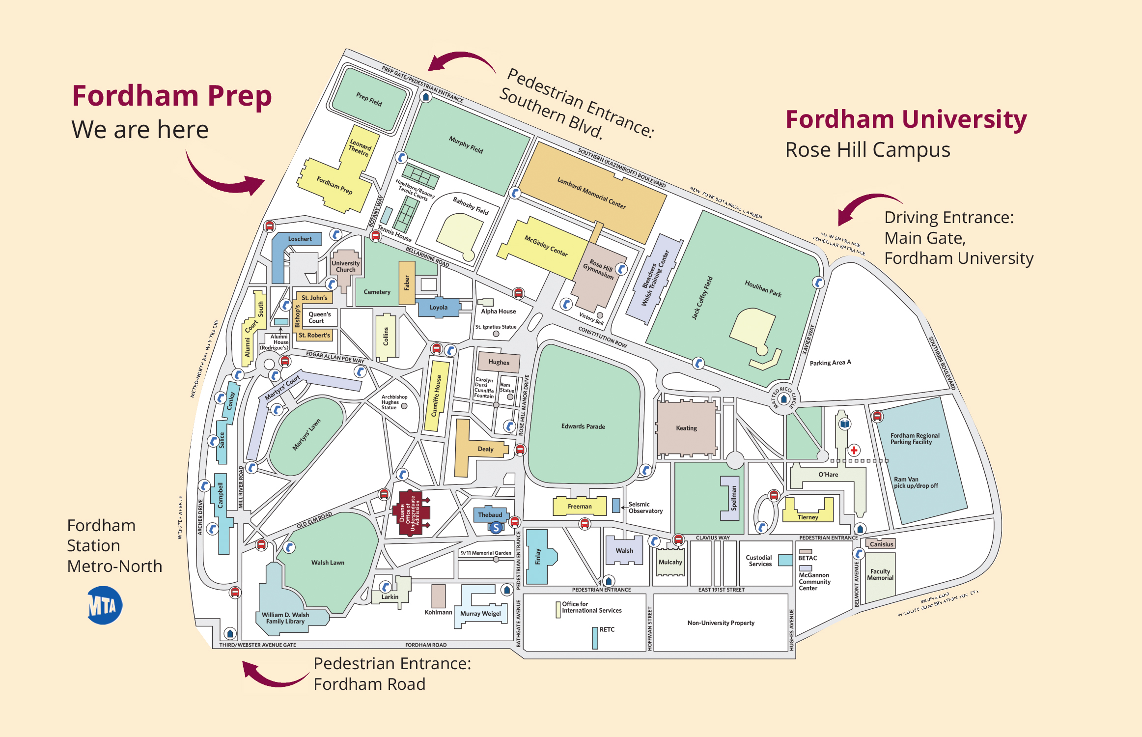 Fordham University and Fordham Prep Campus Map